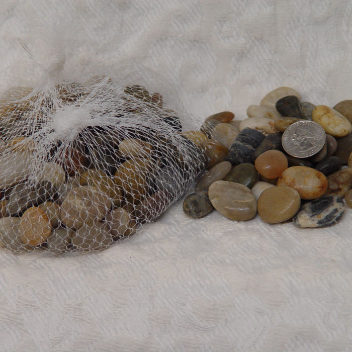 A bag of small assorted marble rocks
