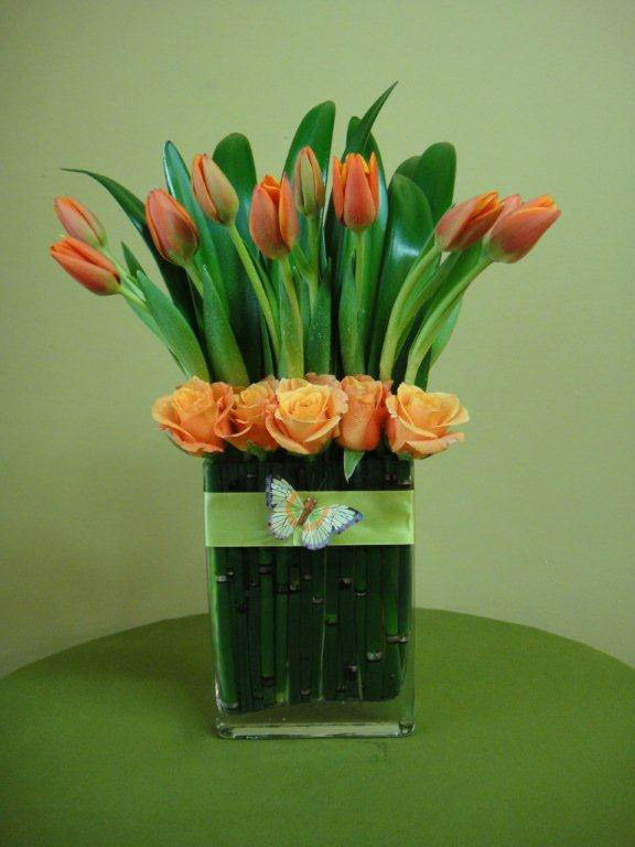 Tulips and Roses Classic Floral Arrangement