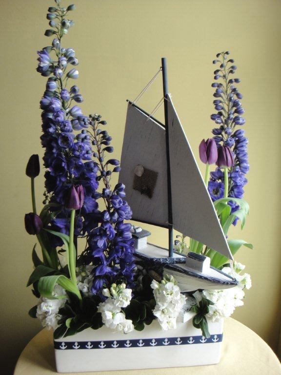 Sail Boat w/ Delphinium, Stock & Tulips Classic Floral Arrangement