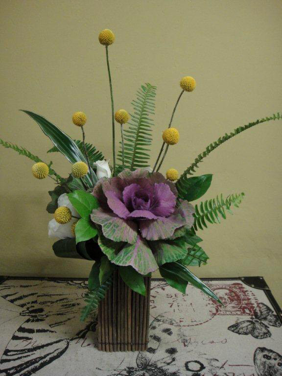 Kale, Crespedia, Roses, Greenery Classic Floral Arrangement