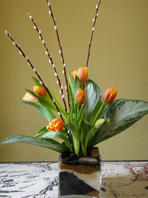 Tulips, Tropical Leaves Pussy Willow Arrangement