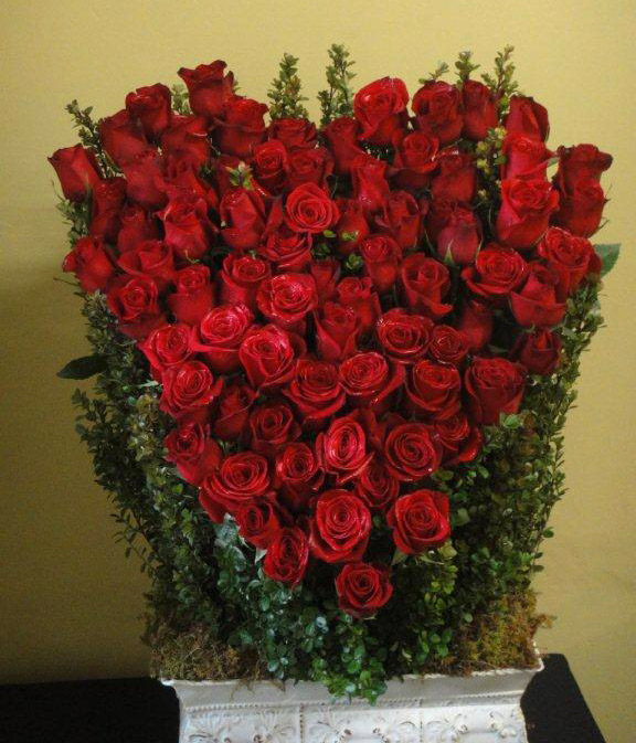 76 Red Roses Sympathy Floral Arrangement
