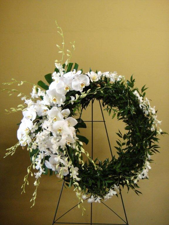 Phalaenopsis & Dendrobium Orchids w/ Boxwood Sympathy Floral Arrangement