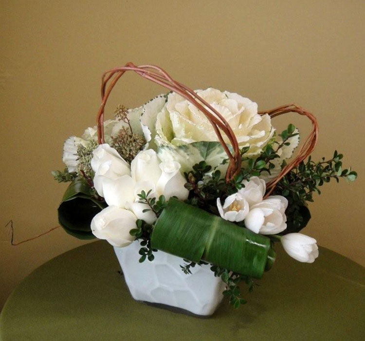 White Glass Vase w/ Kale, Tulips, Roses, Curly Willow, Ti Leaves