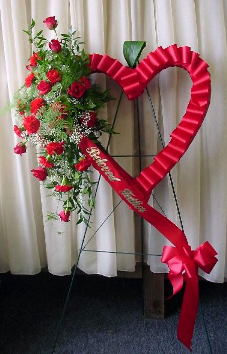 Sympathy Floral Arrangements Heart, ribbon, Roses