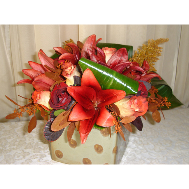 Square Ceramic w/ Red Asiatic Lilies, Roses & Ti Leaf