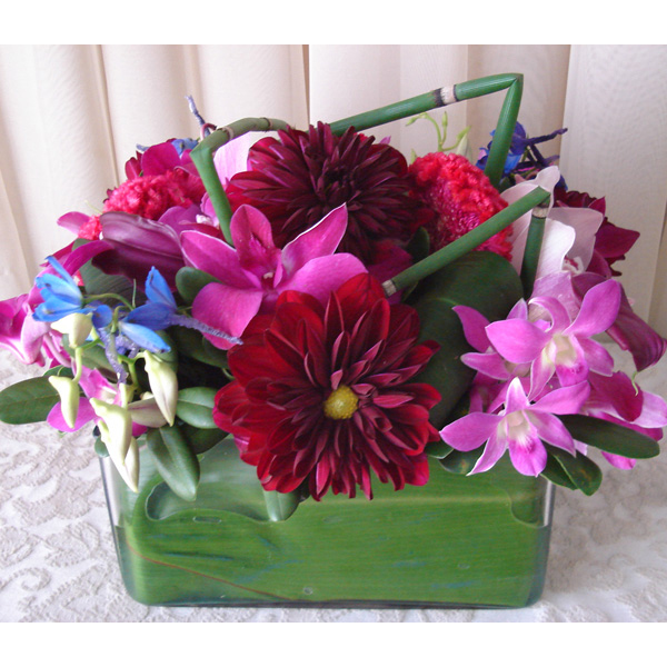 Square Glass w/ Dahlias & Dendrobium Orchids