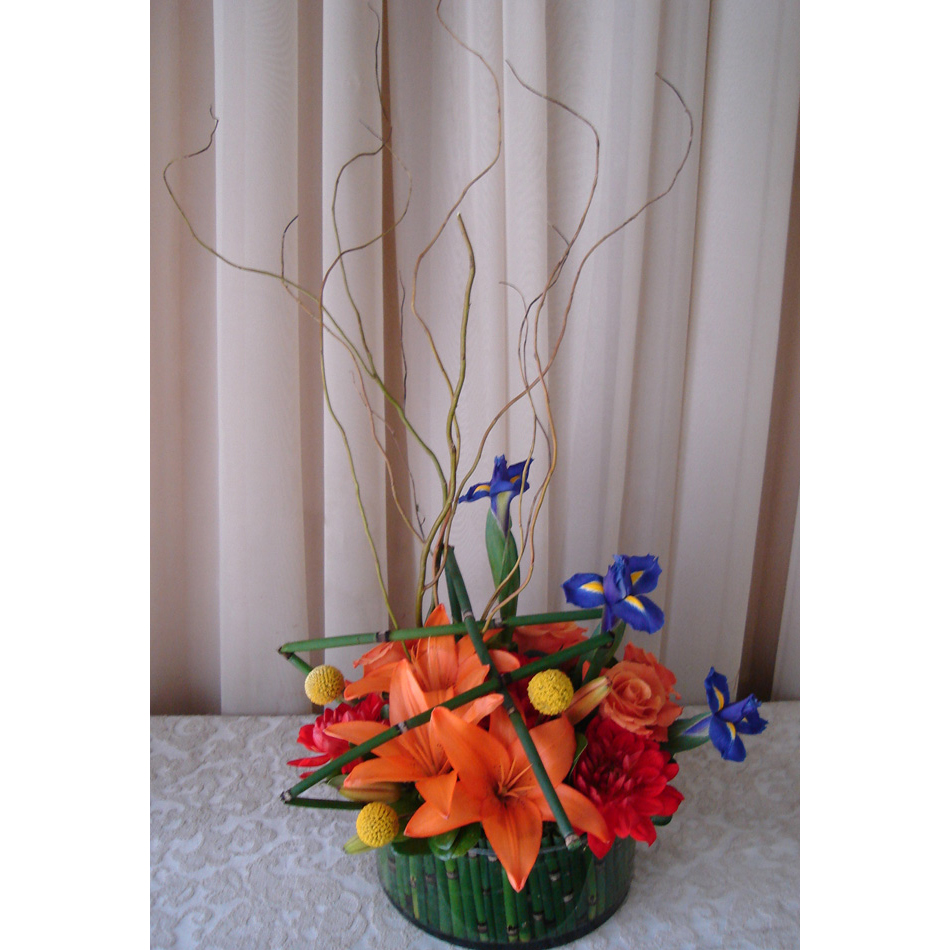 Glass Cylinder w/ Roses, Dahlias & Orange Asiatic Lilies