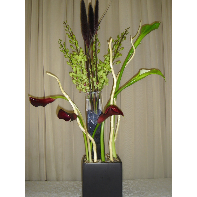 Black Ceramic Square w/ Green Orchids & Lilies