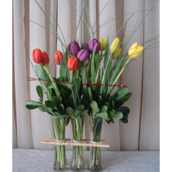 3 Vase Corral w/ Tulips & Bear Grass