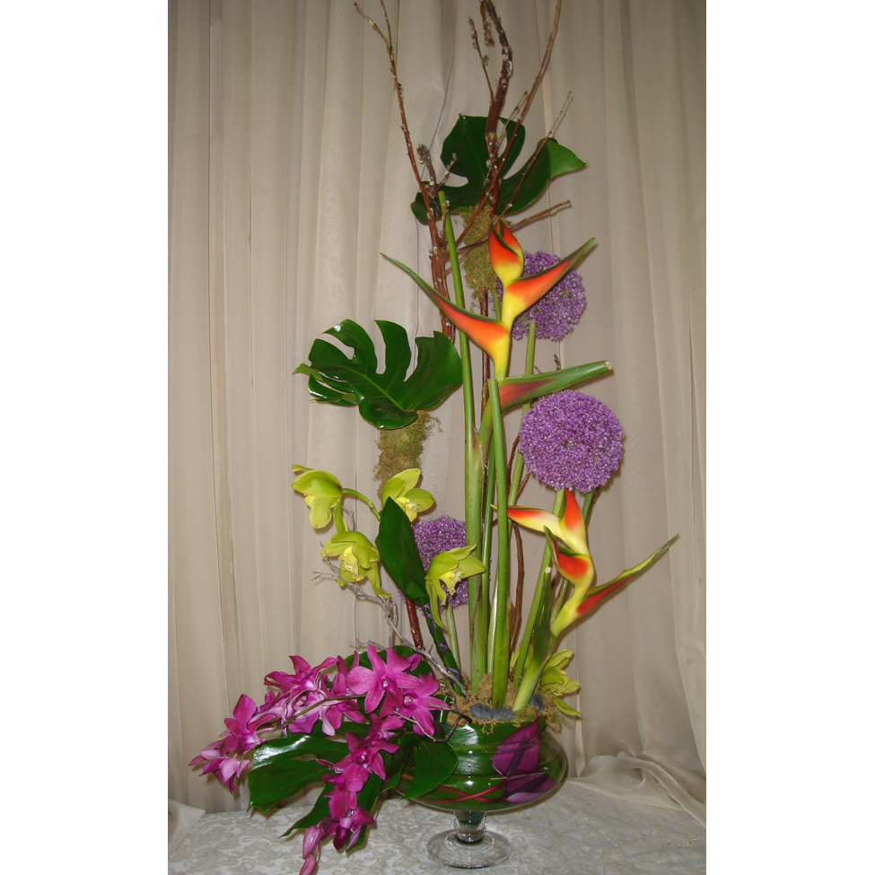 Lily Bowl w/ Monstera, Orchids, Lilies & Birds of Paradise