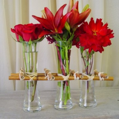 Modern Flower Arrangements on Affordable 3 Vase Corral Floral Arrangement  Roses  Lilies   Dahlias