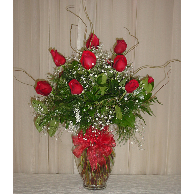 Glass Rose Vase w/ 1 Dozen Roses