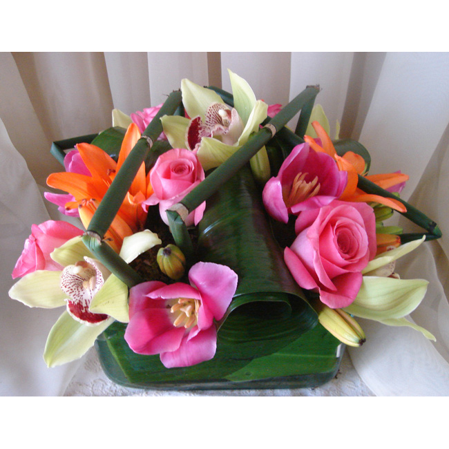 Glass Square w/ Roses, Orchids, Tulips & Lilies