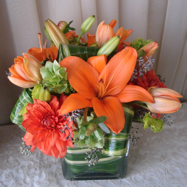 Tapered Square w/ Dahlias, Tulips & Asiatic Lilies