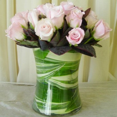 Dozen Pink Roses in Glass Gathering Vase