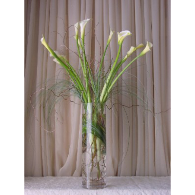 Calla Lily with Bear Grass in a Cylinder Vase