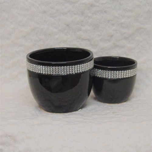 Jeweled black ceramic pot