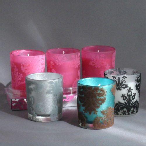 Flocked Fleur Di Lis Votive Candles Measures 2 H x 25 D