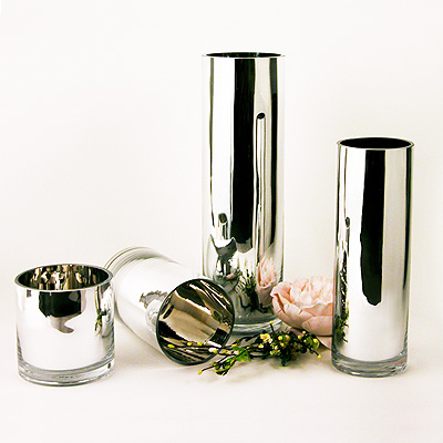 Mirrored Glass Cylinders