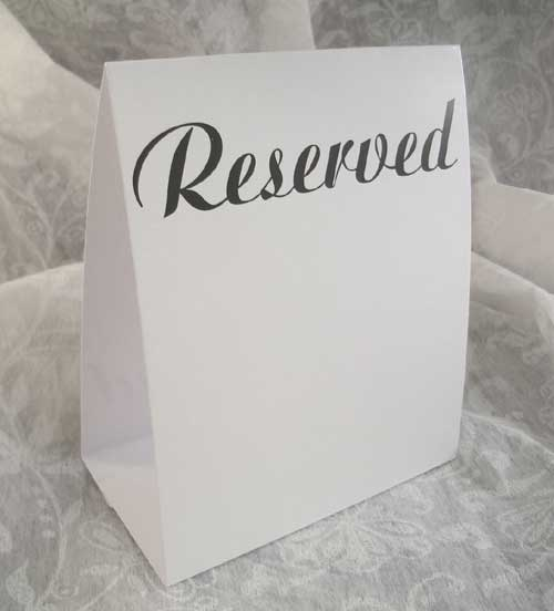 Reserved seating table tent