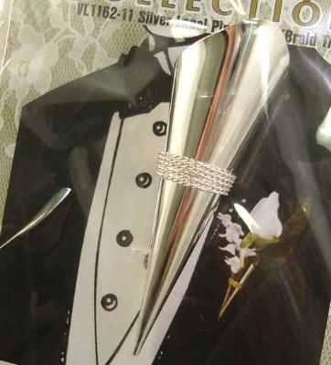 Silver Lapel Pin Vase w/Braid Trim