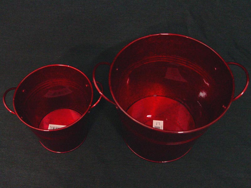 Red Galvanized Flower Bucket Top