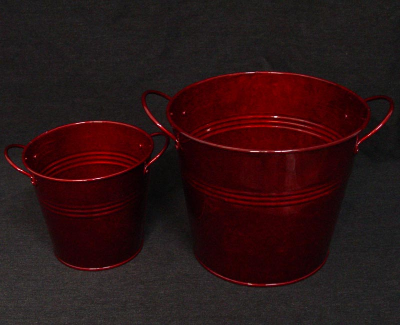 Red Galvanized Flower Bucket