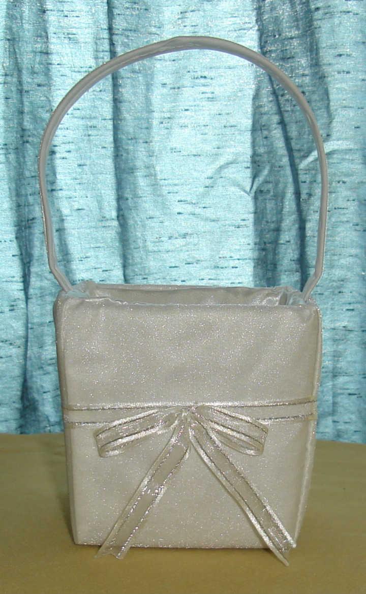 "4"" Silver Flower Girl Basket"